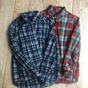 Boys 10/12  set plaid button up long sleeve shirts